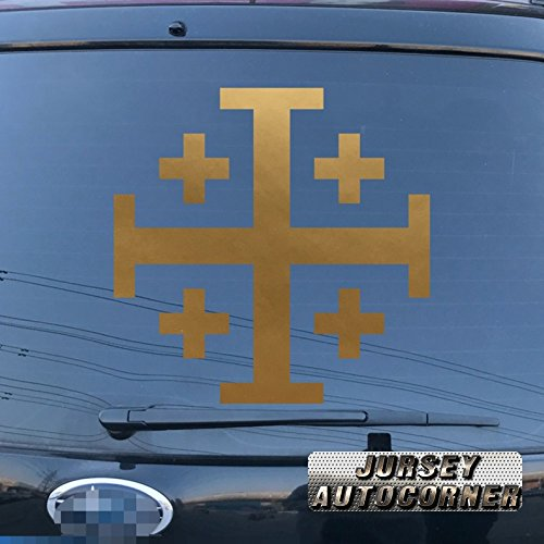 Jursey Auto Jerusalem cross Crusaders' cross Five-fold Cross Car Truck Decal Sticker Vinyl Die cut no background pick color size (gold, 4'' (10.2cm))