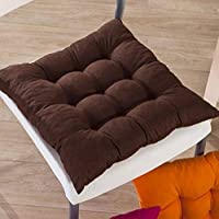 Bedding King Premium Microfibre Chair Pad Cushion Seat Pads Seat Cushion Indoor Outdoor Dining Home Office Garden Decor, Brown