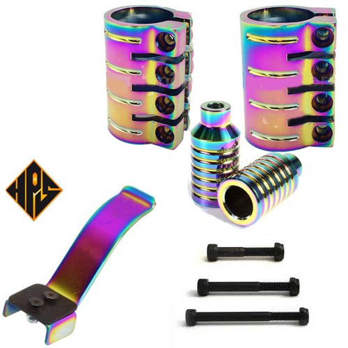 Motion stunt Scooter Neo chrome set 4 bolt quad clamp & shim for hic ics or threaded forks - 2x deep ridged stunt pegs 3 axle bolts - flex brake (Scooter Clamp Purple Quad)