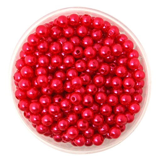 MonkeyJack 500 Pieces 6mm Round Plastic Imitation Pearl Spacer Beads for DIY Jewelry Making - Red