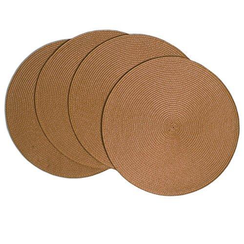 Benson Mills Victorian 15-Inch Round Placemats, Sandalwood, Set of 4