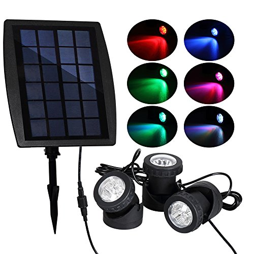 T-SUN Solar Pond Lights, Solar Powered RGB LED Spotlights Outdoor Security Light Solar Fish Tank Light, Adjustable Lighting Angle for Garden Fountain, pond, Pool Decoration Underwater LED Lights