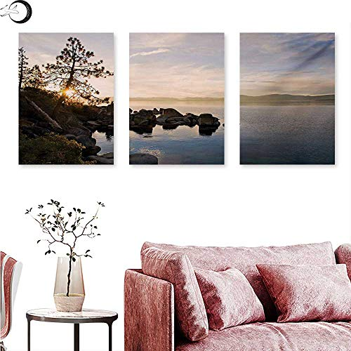 anvas Prints Wall Art Lake Tahoe at Sunset with Clear Sky and Single Pine Tree Rest Peaceful Weekend Photo Triptych Photo Frame Blue Grey W 12