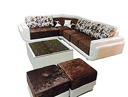Amazing Sunny Designer Sofas Solid Wood Zodiac Sectional Sofas With Centre Table And 2 Pouffes Brown And White Download Free Architecture Designs Momecebritishbridgeorg