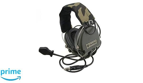 Tomtac Airsoft Sordin Auriculares con micrófono Boom Radio MSA diseño de búhos/que contiene OD verde: Amazon.es: Deportes y aire libre