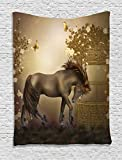 Ambesonne Mystic House Decor Collection, Horse in Roses Garden Butterflies Fantasy Moonlight Romantic Artistic illustration, Bedroom Living Room Dorm Wall Hanging Tapestry, Beige Brown