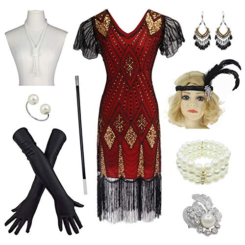 Women's 1920s Gatsby Inspired Sequin Beads Long Fringe Flapper Dress w/Accessories Set (Small, Gold&Red)