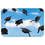 VROSELV Custom Door MatGraduation CapThrown into Sky Last of the School Highschool College Ceremony Picture Blue Black