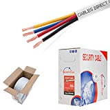 4 wire fire - Bulk 22/4 Stranded Conductor Alarm Cable 500ft Fire/Security Burglar Station Wire Security (Unshielded (UTP), 22/4, Stranded, 500ft)