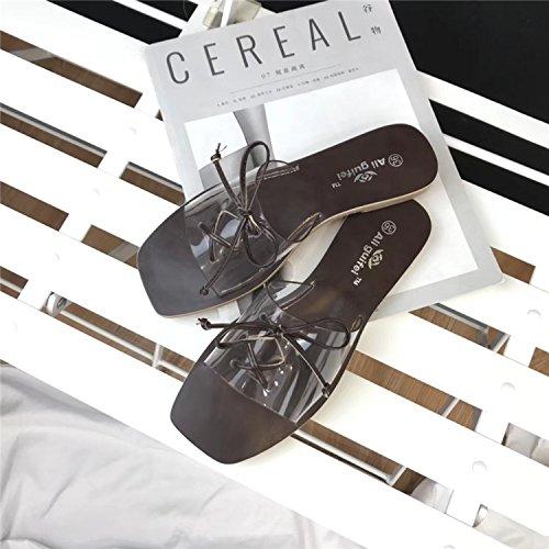 Zapatos Sole Puntera Flat New De Zapatillas Korean Correas Playa brown Cuadrada La Cruzadas Bottom w4Yvg4q
