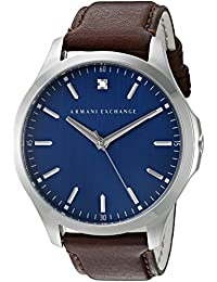 Armani Exchange Men's 'Smart' Quartz Stainless Steel and Leather Automatic Watch, Color:Brown (Model: AX2181)