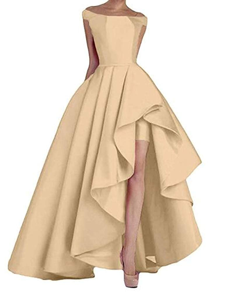 Champagne Yuki Isabelle Solid Lace Up Split Formal Gowns High Low Long Evening Party Dresses