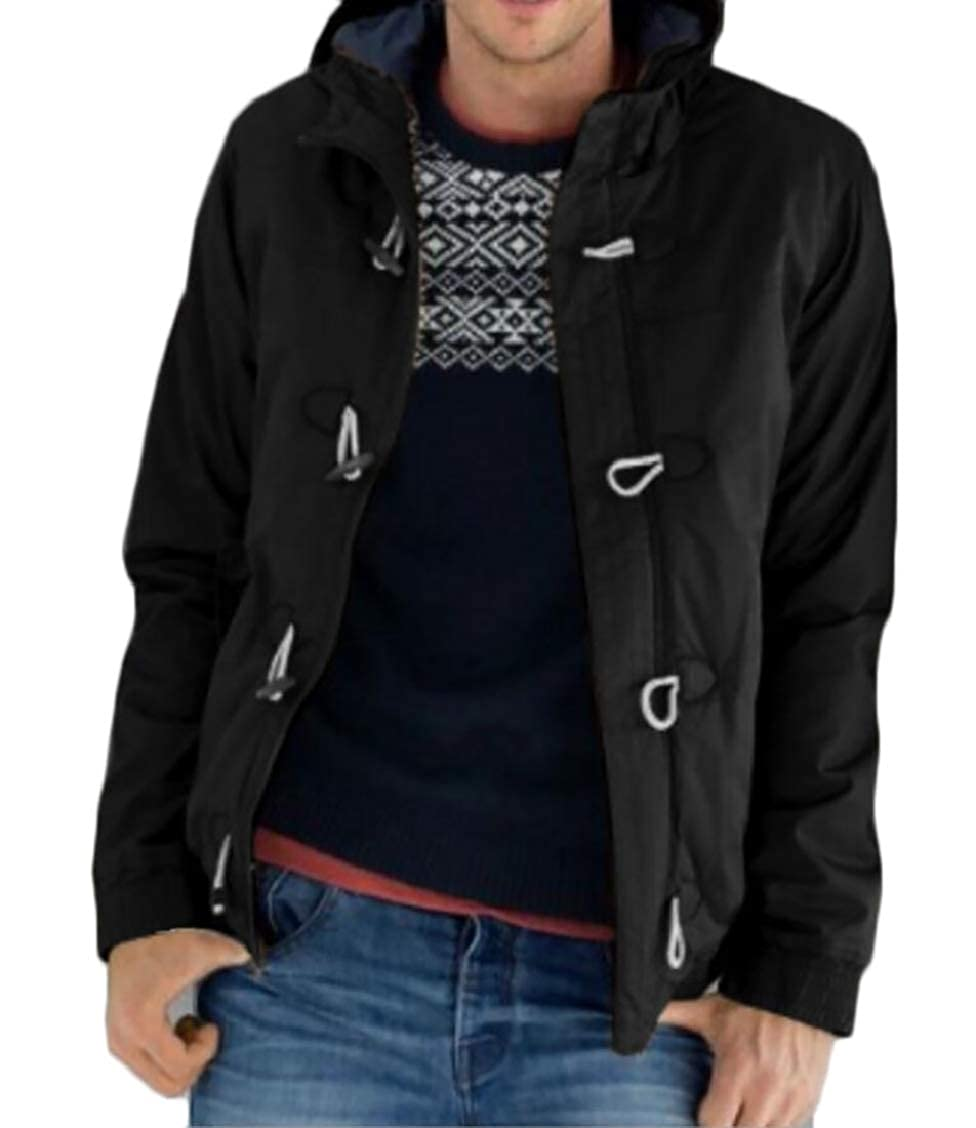 XQS Mens Casual Button Down Thicken Hooded Solid Color Down Jacket Coat