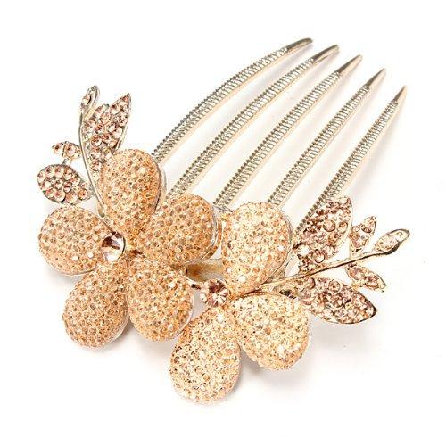 Click Down 1pcs Charm Fashion Lady Girl Flower Pattern Alloy Rhinestone Barrette Hair Clip Comb-1