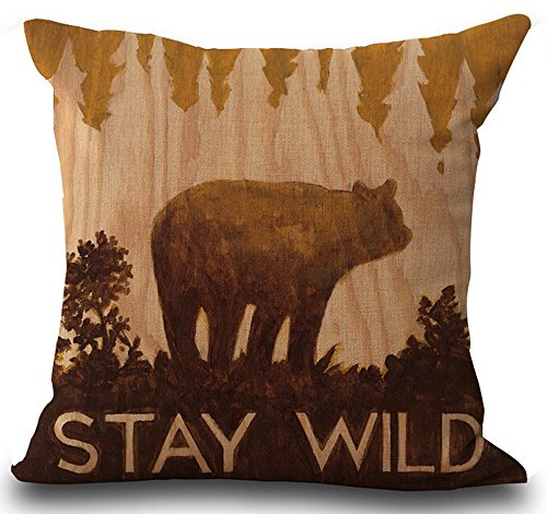 Retro Vintage Background Wildlife Lodge Black Bear Stay Wild Cotton Linen Throw Pillowcase Personalized Cushion Cover NEW Home Office Decorative Square 18 X 18 (Bear Lodge Pillow)