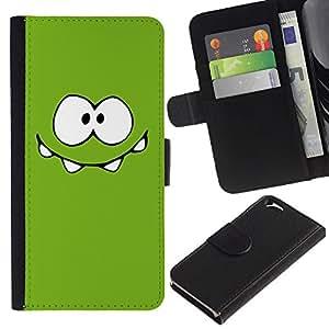 KingStore / Leather Etui en cuir / Apple Iphone 6 / Monstruo Verde Ojos lindos