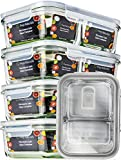 #1: [5 Pack] Glass Meal Prep Containers Glass 2 Compartment - Glass Food Storage Containers - Glass Storage Containers with Lids - Divided Glass Lunch Containers Food Container - Glass Food Containers