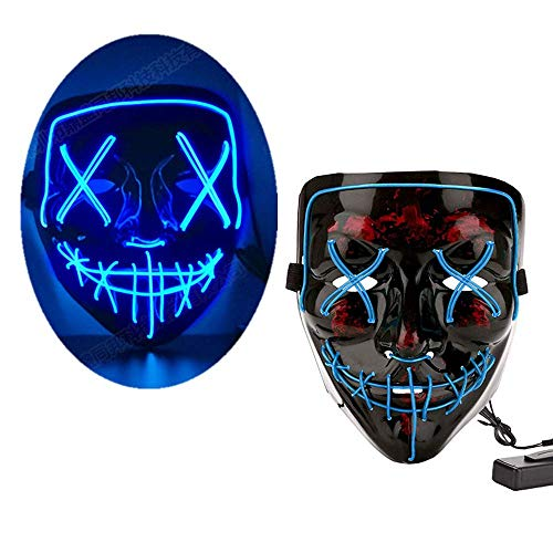 LEWOTE Halloween Mask, LED Light Up Mask for Halloween Festival Cosplay Costume Party