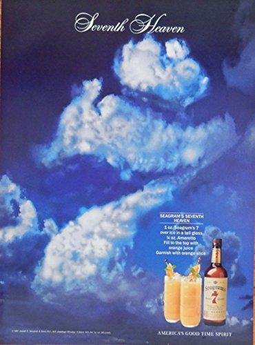 Seagram's Seven Crown Whiskey, vintage print ad. full page color illustration (Seventh Heaven) original vintage Magazine Art