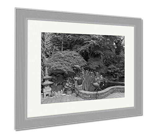 Ashley Framed Prints Home Garden Backyard With Lush Plants Japanese Landscaping Pond Stone Pagoda, Contemporary Decoration, Black/White, 26x30 (frame size), Silver Frame, AG6503752 by Ashley Framed Prints