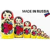 Russian Nesting Doll - Semenovo - Hand Painted in Russia - Traditional Matryoshka Babushka (10.25``(10 Dolls in 1))