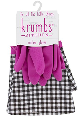 - Krumbs Kitchen Rubber, Pink Gingham Glove Liners, One Size,