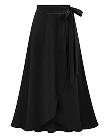 76a5726c2e SEBOWEL Women's Solid High Waist Flowy A-line Flared Skater Slit Midi Maxi  Skirt Black