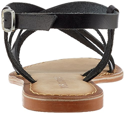 Vero Moda Vmvina Leather Sandal, de Tiras para Mujer Negro (Black)