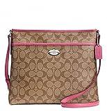 Coach Signature Coated Canvas File Bag in Light Khaki & Pink