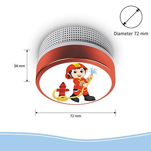 Elro fs8110 Detector de Humo Bombero Niños Detector de Humo con batería de 10 años de Después de EN14604, Rojo: Amazon.es: Bricolaje y herramientas