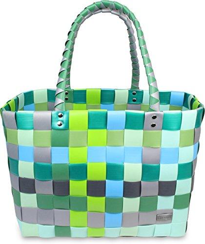 Einkaufskorb Shopper geflochten aus Kunststoff - robuster Strandkorb aus wasserabweisendem Material Farbe Raindrop