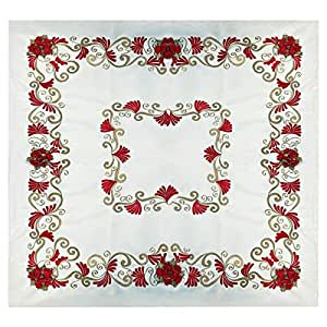 Turathna Cotton Charm White Table Cover Decorated With Red Handmade Flowers