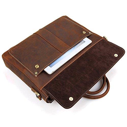 Simple Funktionell Herren Leder Schultertasche Messenger Bag Tasche Umhängetasche für Reise Alltag Outdoor Sports Braun-A vsYNT4Ac
