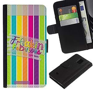 All Phone Most Case / Oferta Especial Cáscara Funda de cuero Monedero Cubierta de proteccion Caso / Wallet Case for Samsung Galaxy S5 Mini, SM-G800 // Fabulous Lines Pattern Pastel