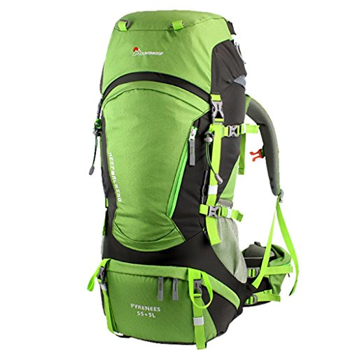 Mountaintop Unisex Outdoor Hiking Climbing Camping Backpack Professional Mountaineering Bag 60L(55L+Expand 5L)-Green