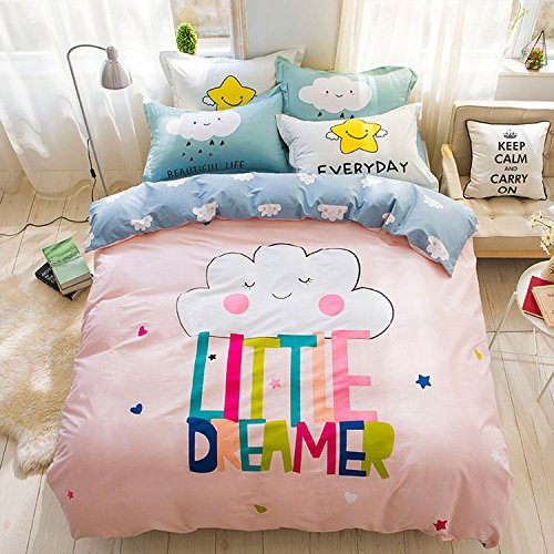 WarmGo Home Bedding Sets for Adult Kids Little Dreamer Cloud Design Duvet Cover Sets 4 Piece without Comforter by WarmGo