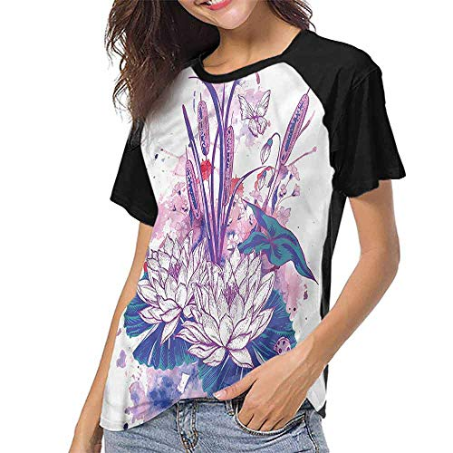 - Men Print Tees,Floral,Pond Water Flowers Botanical S-XXL O Neck T Shirt Female Tee