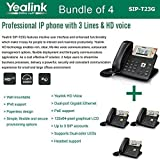 Yealink SIP-T23G, 3 Lines HD Professional VoIP Phone, 3SIP Accts, 3way conf., dual port Gigabit, PoE, BUNDLE of 4