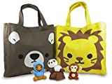 Bear and Lion Tote Bags 10 x 9.5 Inches with (4) Mini Puzzle Erasers (6 Piece Set)
