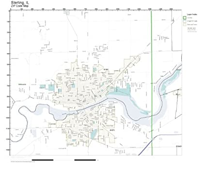 Amazon Com Zip Code Wall Map Of Sterling Il Zip Code Map Laminated