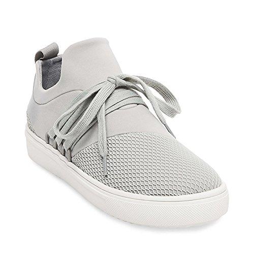 Steve Madden Women's Lancer Fashion Sneaker, Grey, 8.5 M US