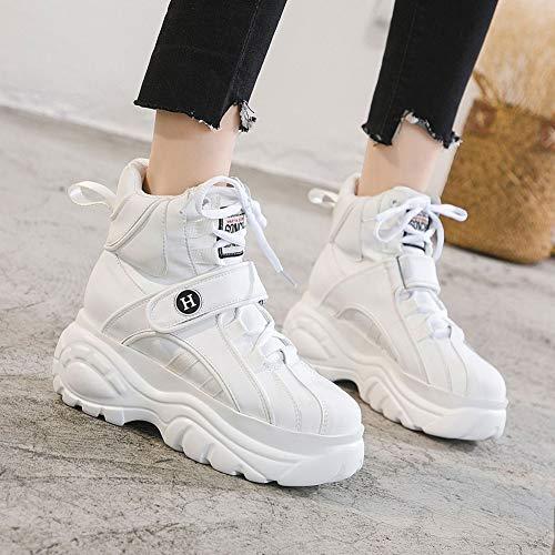 Casual Cordones Calzado Femenina Mujer Zapatillas Top Zapatos Decoración De Blanco Alto Rayas Hebilla Con Cómodo Roma Primavera Plataforma HB06Rqwa