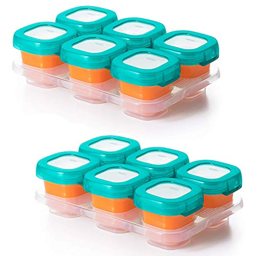 OXO TOT Baby Blocks Food Storage Containers, Teal, 2 Ounce – Set of 2