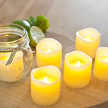 Gorgeous Flameless Candles - Flickering - Romantic - Battery Powered - Made out of REAL WAX - Super Realistic - The PERFECT Decoration - Unscented and Elegant - 6 Pack, Yellow Light - Divine LEDs