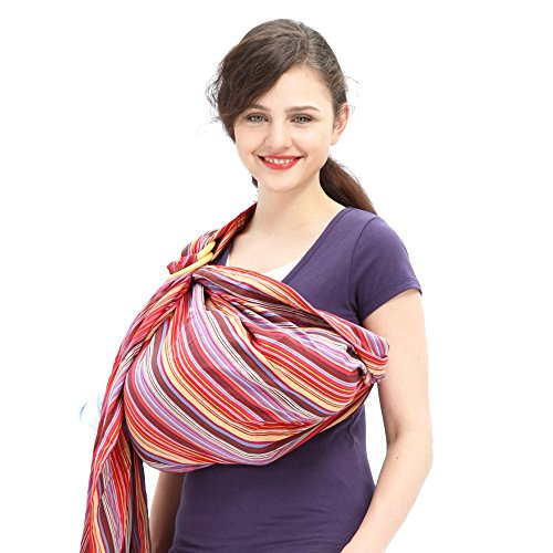 Mamaway Ring Sling Baby Wrap Carrier for Infant, Newborn, Toddler, Nursing Cover, Breastfeeding Privacy, Baby Holder, Breathable Fabric, 100% Cotton-Rainbow - Ring Sling Cotton