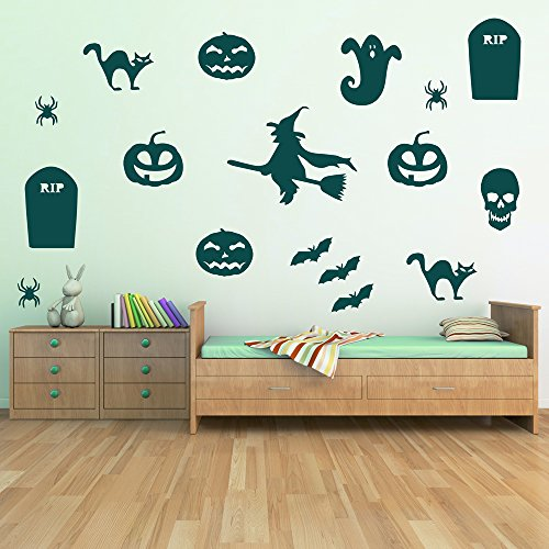 Tombstone Skull Witch Wall Sticker Group Halloween Wall Decal Spooky Decor available in 5 Sizes and 25 colors X-Large Ocean (Ocean Group Halloween)