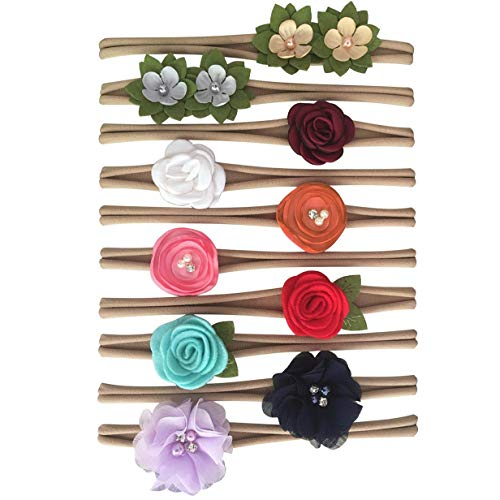 RSKY Baby Rsky Baby Girl Headbands Newborn Hair Flower Bows Infant Nylon Head Bands for Toddler Accessories Pack of 10