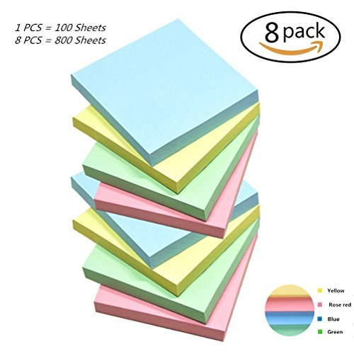 Ourhome520 1 Sticky Easy Post Self-Stick Notes for Home Office Tabs (3 x 3 Candy Colors)