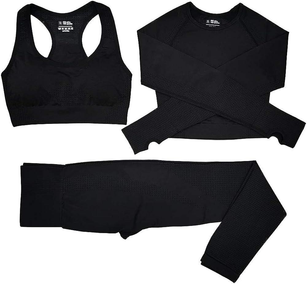 S Pantalones De Yoga S/úper El/ásticos Sin Costuras+Bralette Para Mujer+Camiseta Deportiva De Manga Larga Sin Costuras Mujer Negro Conjunto Yoga 3 Piezas Ropa Fitness