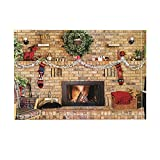 NYMB Xmas Decor, Cozy Fire in Brick Fireplace and Mantle Decorated for Christmas Bath Rugs, Non-Slip Doormat Floor Entryways Indoor Front Door Mat, Kids Bath Mat, 15.7x23.6in, Bathroom Accessories